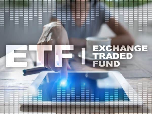 ETF. Exchange traded fund. Business, intenet and technology concept.