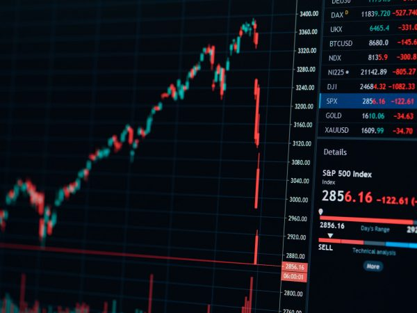 a significant s p 500 index chart drop, black background